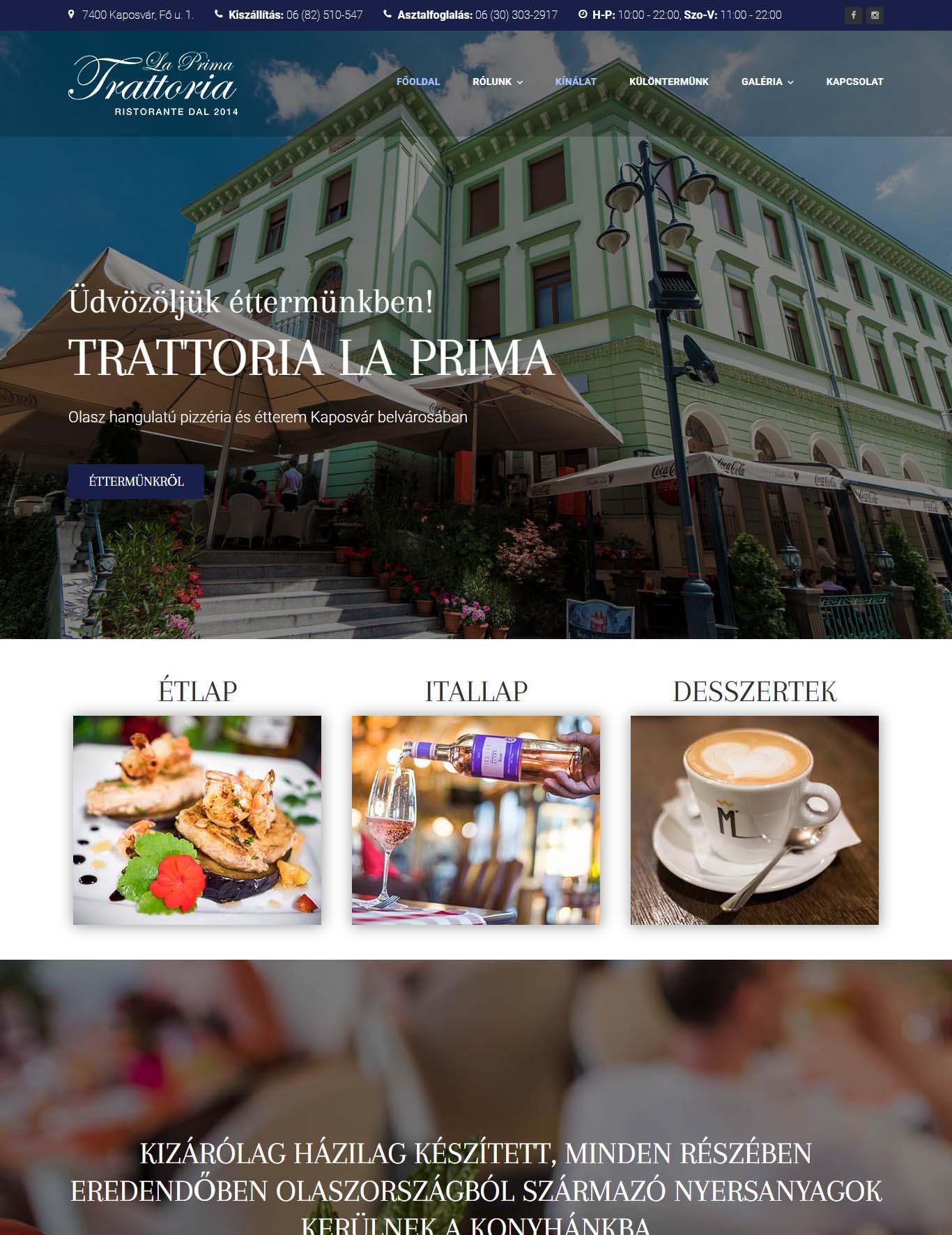 Trattoria La Prima olasz hangulatú étterem és pizzéria
